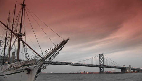 The Ben Franklin bridge spans Philadelphia and New Jersey Footage