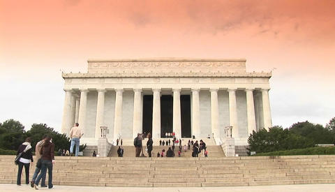 The Lincoln Memorial in Washington DC with visitors approaching Footage