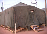 Medium shot of a FEMA refugee tent Stock Video Footage