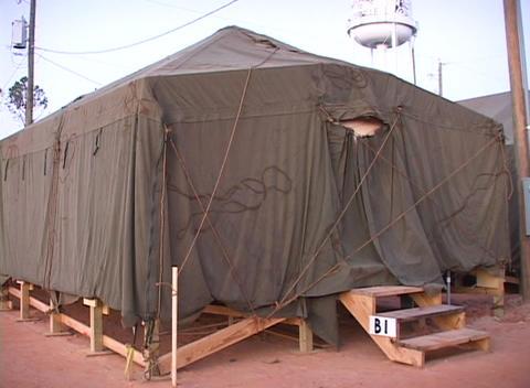 Medium shot of a FEMA refugee tent Stock Video Footage