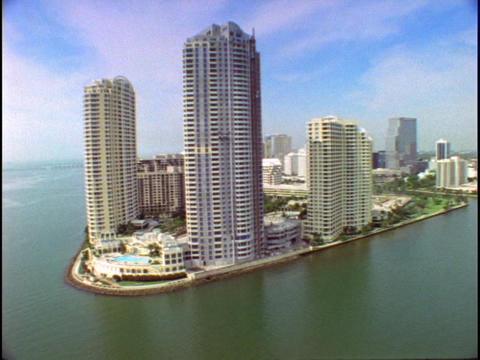 A Miami point houses highrise apartment buildings Stock Video Footage