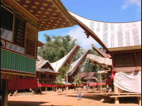 A Sulawesi, Indonesia village contains longhouses Stock Video Footage