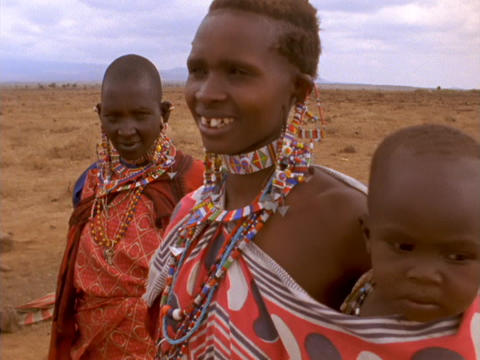 Masai are the best known tribal people of East Africa. Here, the Masai pose for the camera Footage