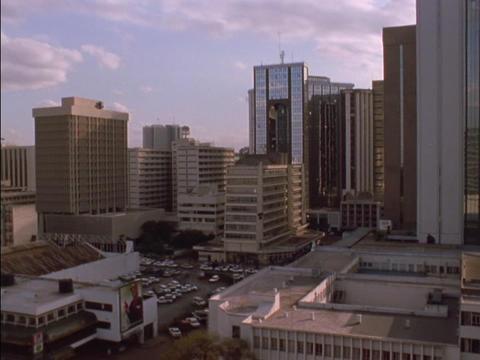Skyscrapers tower over downtown Nairobi, Kenya Stock Video Footage