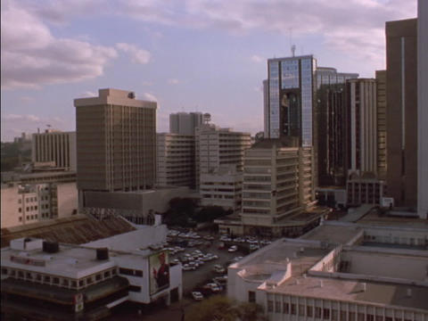 Skyscrapers tower over downtown Nairobi, Kenya Stock Video Footage