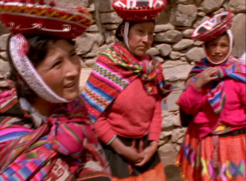 Close-up of colorful Peruvian women chatting Stock Video Footage