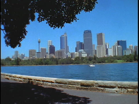 An establishing shot of Sydney harbor, Australia Footage