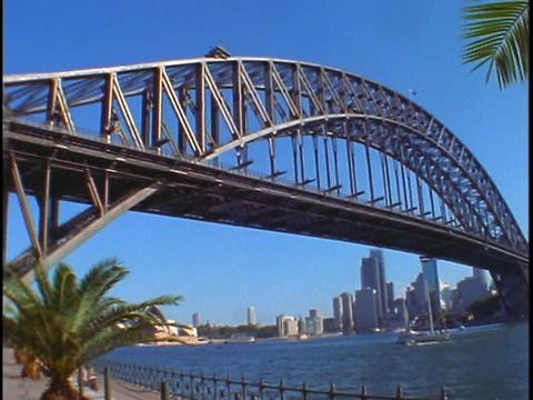 Sydney Harbor Bridge crosses Jackson Port in the Sydney... Stock Video Footage