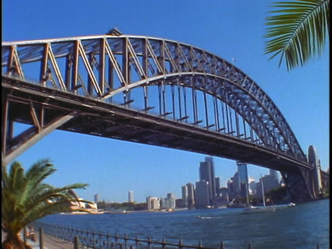 Sydney Harbor Bridge crosses Jackson Port in the Sydney Harbor Footage