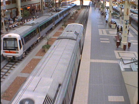 A rapid transit train pulls out of the station in Perth, Australia Footage