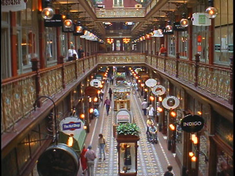 Shoppers Walk In An Elegant Shopping Mall In Australia stock footage