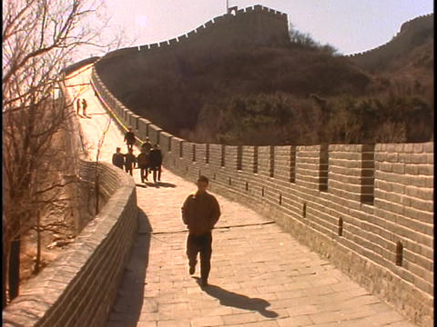 Sightseers walk along the Great Wall Of China Footage