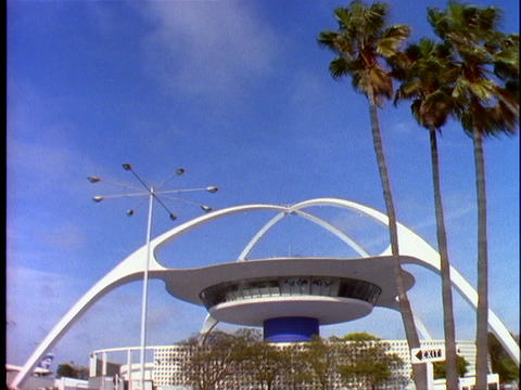 Space-age, Modern Architecture Is Displayed At The Restaurant At The Los Angeles Airport stock footage