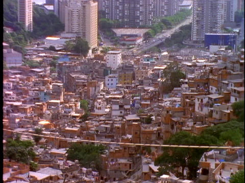 Houses are densely crowded into a slum in Rio De Janeiro, Brazil Footage