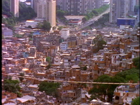 Houses are densely crowded into a slum in Rio De Janeiro,... Stock Video Footage