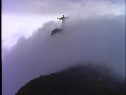 Fog rolls over the Christ The Redeemer statue in Rio De Janeiro Footage