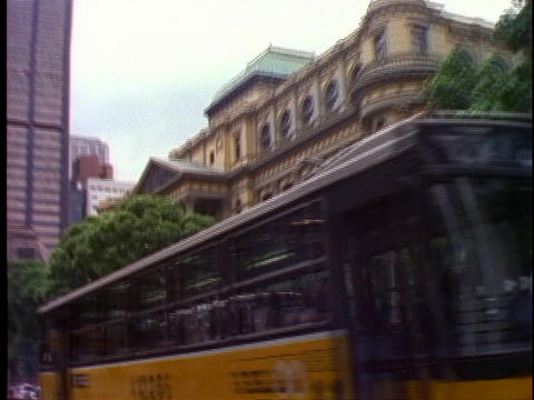 A city bus advertises Copacabana as its destination in... Stock Video Footage