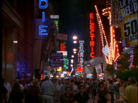 Neon signs light up the night in Buenos Aires, Argentina Footage