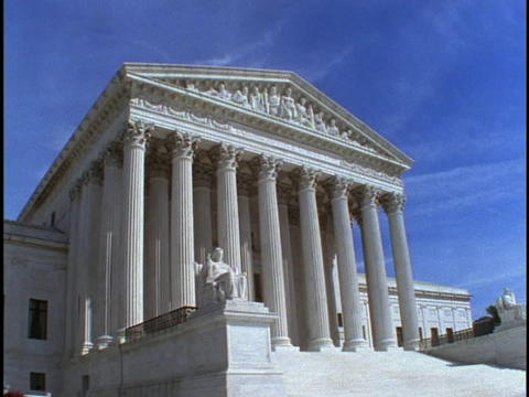 Steps lead to the entrance of the United States Supreme Court building in Washington DC Footage