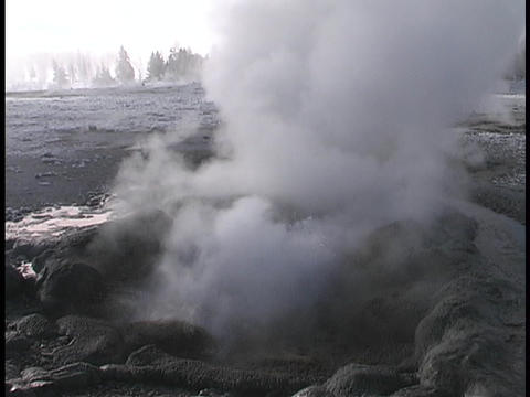 A geyser releases steam in Yellowstone National Park Stock Video Footage