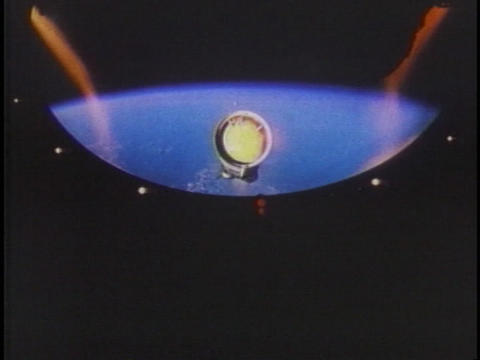 A NASA rocket fires in space Footage