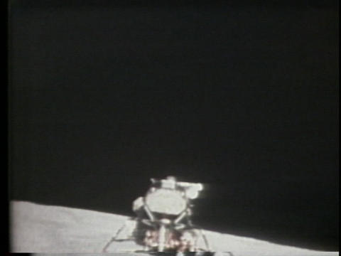 The lunar lander blasts off into space Stock Video Footage