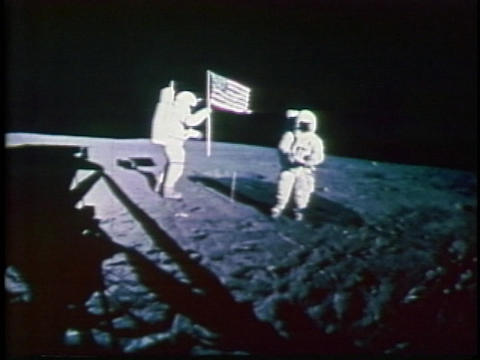 American astronauts plant a flag on the moon Footage