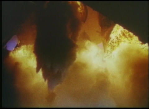 POV of a rocket blasting off and the flames from the... Stock Video Footage