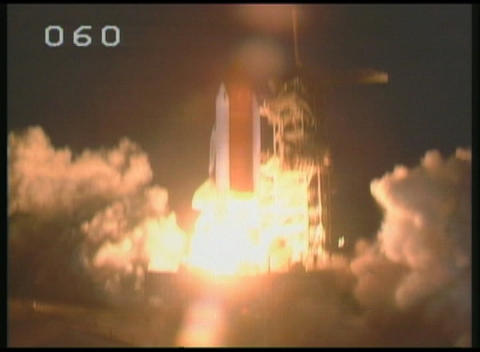 Medium of space Shuttle lifting off from its launch pad... Stock Video Footage