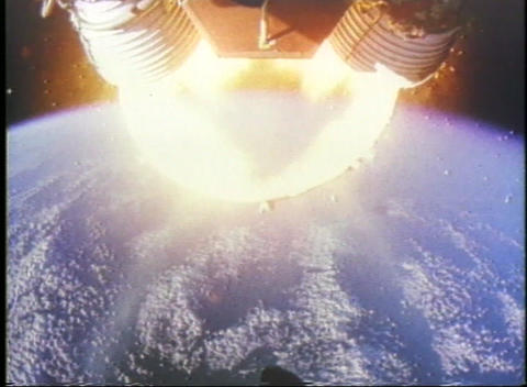 Aerial shot of first stage of a rocket releasing from... Stock Video Footage