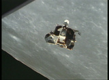 Aerial Shot Of The Apollo Lunar Module Circling The Moon stock footage