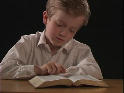 A young boy reads a Bible Footage