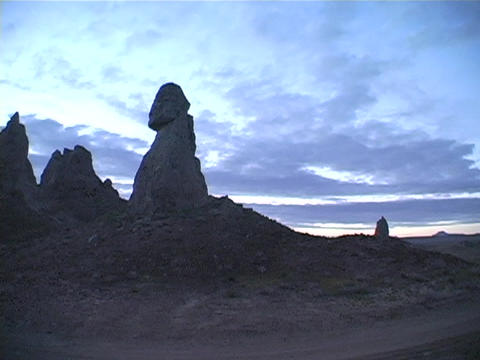 Pinnacles made of limestone are near Trona, California Stock Video Footage