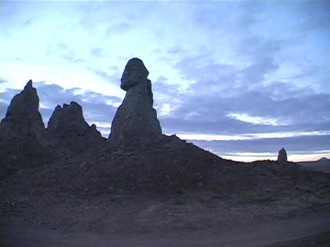 Pinnacles made of limestone are near Trona, California Footage