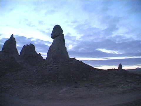 Pinnacles made of limestone are near Trona, California Stock Video Footage