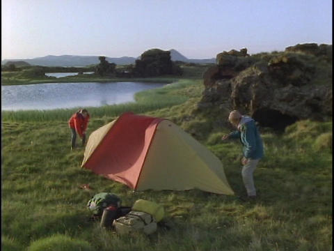 A couple camps in Iceland Stock Video Footage