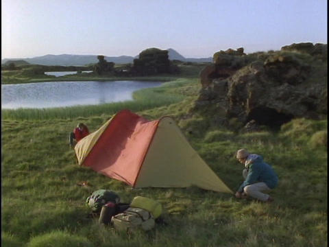 A Couple Camps In Iceland stock footage