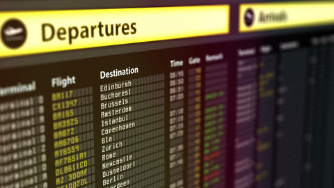 Departures sign board with flight information, destination cities on timetable Footage