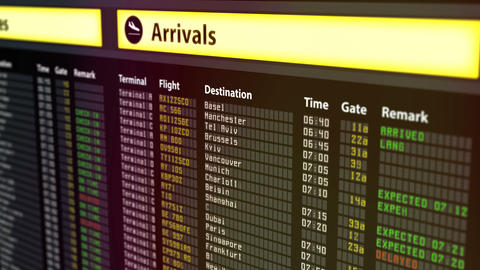 Important flight information displayed on airport arrivals and departures board Footage