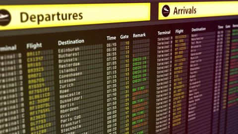 Departures arrivals timetable at airport, flights get canceled, security threat Live Action