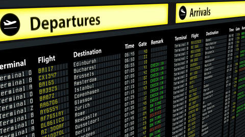 Flight information on airport arrivals departures board, timetable and schedules Live Action
