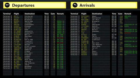 Airport timetable arrivals and departures board with changing flight information Footage