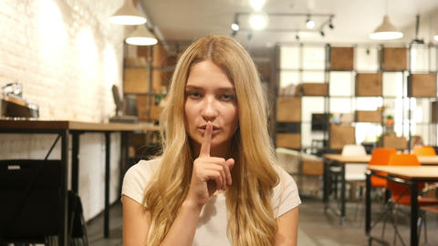 Silence , Girl Showing Gesture Footage