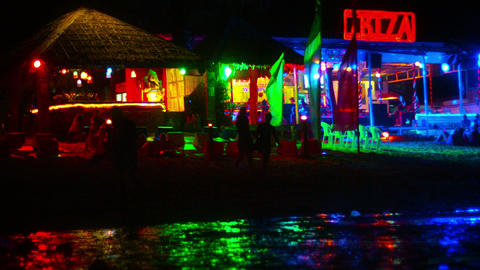 Nighttime Party Scene on Phi Phi Island. a popular and famous destination for to Live Action