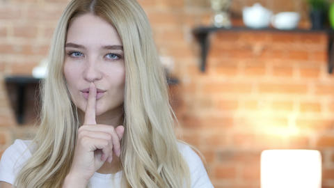 Silence , Portrait Of Girl Doing Silence Gesture Footage