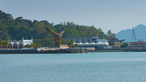 Eagle Sculpture Overlooking the Bay at Langkawi. Malaysia Live Action