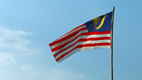 National Flag of Malaysia. Flapping in a Steady Breeze Footage