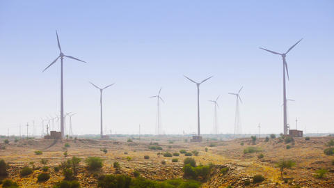 Huge Wind Farm on an Arid Plain Footage