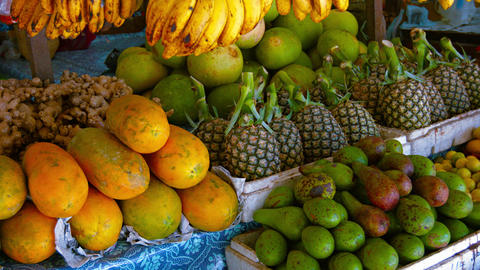 Fresh Produce at an Outdoor Public Market Footage