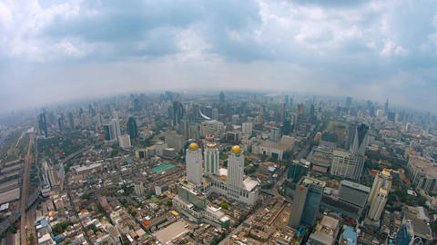 Fisheye Shot of a Sprawling Metropolitan City from High Above Footage